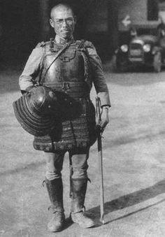 Japanese army officer using samurai armor