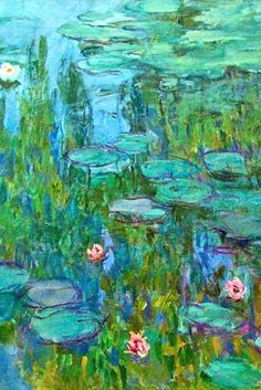 'Waterlilies'-Claude Monet - detail....We loved visiting Monet's amazingly beautiful Garden in France. It is still kept as well as it was by Monet himself. So incredibly pretty.