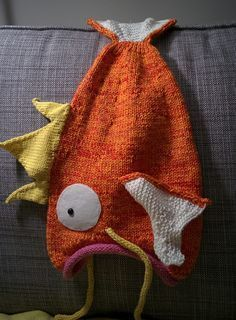 Free Knitting Pattern for Magikarp Go Hat - Magikarp Go Hat  This Pokemon Go character was adapted into a hat by yarn-vs-zombies using Thelma Egberts Fish Hat pattern