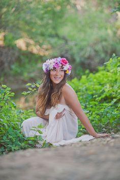 Handmade bright multicolor flower crown, hair accessory, customizable floral headpiece. $25.00, via Etsy.