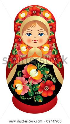 Matryoshka doll vector dressed in a sarafan with flower ornament
