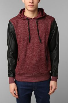 The Narrows Faux-Leather Sleeve Pullover Hoodie  I want I want I want it's Hannah harts hoodie that I've been looking for   :D