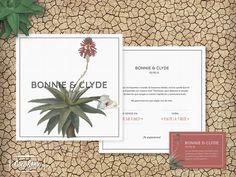 """Diseño Cocó&Ink. Serie de """"Invitaciones de Cine"""". Esta invitación es la que tendrían Bonnie&Clyde si se casasen en nuestro tiempo."""