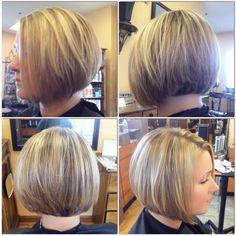 Bob haircut, short hair straight style with balayage blonde highlights,  classic bob.