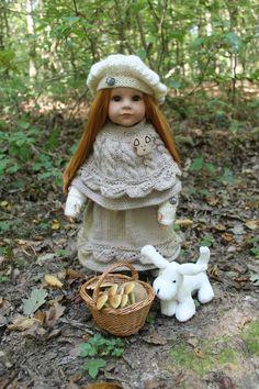 TUTO BERET - CAPE - MITAINES - POUR POUPEE GOTZ (50 cms) Gotz Dolls, Ag Dolls, Baby Boy Knitting, Leather Apron, Doll Wardrobe, Dress Up Dolls, Girl Falling, Knitted Dolls, 18 Inch Doll