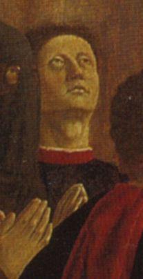 Madonna della misericordia, Particolare del presunto autoritratto di Piero della Francesca.  Museo civico di Sansepolcro