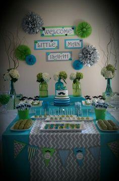 New Baby Shower Ideas Dinosaur Dessert Tables Ideas Distintivos Baby Shower, Mesas Para Baby Shower, Boy Baby Shower Themes, Baby Shower Gifts, Fotos Baby Shower, Little Man Shower, Baby Shower Souvenirs, Baby Shower Desserts, Dessert Tables