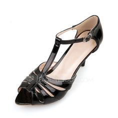 Patent Leather Stiletto Heel Sandals Pumps With Buckle shoes (087048990)