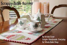 Scrappy Christmas Table Runner by Kristin Esser for Moda Bake Shop