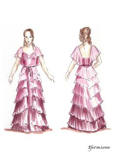 An illusration of Hermione in her Yule Ball dress - better quality concept art!