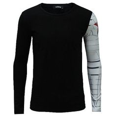 Adult Long Sleeve T- Shirt Iron Arm Captain America Costume The Winter Soldier