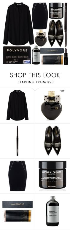 """Bold in Black"" by eclectic-chic ❤ liked on Polyvore featuring Uniqlo, Aéropostale, MAC Cosmetics, Yves Saint Laurent, T By Alexander Wang, Sloane Stationery, Sort of Coal, Smashbox, women's clothing and women's fashion"