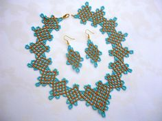 turquoise-gold 'greek' beadwork netted necklace seed