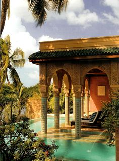 With its Moorish style architecture and decor, Veronica Webb's Key West, Florida home was heavily inspired by Morocco. Islamic Architecture, Architecture Design, Morrocan Architecture, West Home, Cool Pools, Interior Exterior, Exterior Design, Architectural Digest, Architectural Elements
