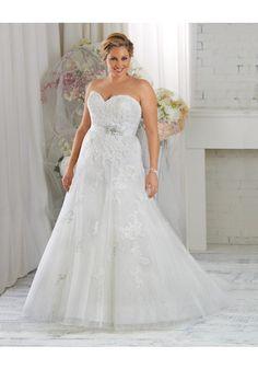 Sleeveless Sweetheart Tulle A Line Plus Size Wedding Dress