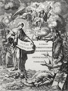 Phillip Medhurst presents Bowyer Bible Gospels print 3319 Frontispiece Matthew Jan Luyken on Flickr. From an extra-illustrated copy of Macklin's Bible in Bolton Museum