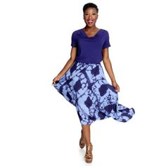 WD.NY Stretch Knit Drape Neck Top & Tie-Dyed Tiered Hi-Lo Skirt