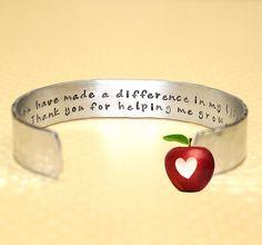 Teacher Gift  Custom Hand Stamped Teacher Cuff by KorenaLoves, $25.00