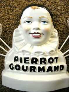 Pierrot Gourmand French Lollipop Advertising Ceramic Figurine from rubylane-sold on Ruby Lane