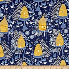 Designed by Rae Ritchie for Dear Stella Designs, this cotton print collection features subtle hues with nature inspired designs. Perfect for quilting, apparel, and home decor accents. Colors include shades of blue, yellow, gold and white.