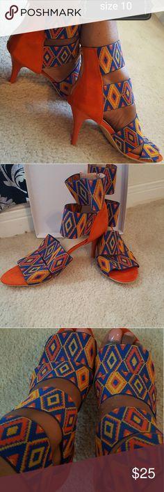 shoes Cute!!Orange, blue and yellow diamond print heels!! Shoes Heels