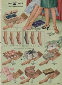 Stocking styles pictured in the 1957 Simpsons Sears Christmas Catalog. vintage 1950s stockings, hoisery ad.