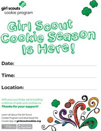 It's never too early to start thinking about your cookie booth! For girls/volunteers: Post your business hours on this Cookie Booth sign!