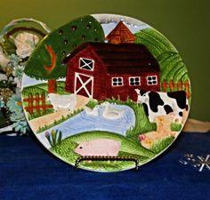Country Farm animal plate, farmhouse decor plate, hand painted, vintage 1980s