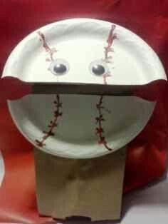 Baseball  paper bag puppet