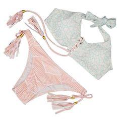 Ladies Swimwear Swimsuit Pink Tassels Lace Strappy Bikini Push Up Bathing Suits