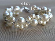 Avorio perla bracciale, bracciale di perle di vetro, bracciale di perle fiore, matrimonio bracciale, bracciale di cristallo, braccialetto di damigella d