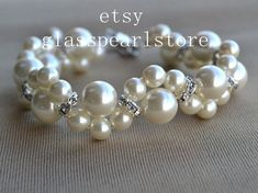 Pulsera de perlas marfil brazalete de perlas de por glasspearlstore