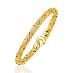 Fancy Weave Bangle in 14K Yellow Gold (5.0mm): 7.25 inches