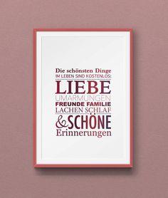 Rosa auf weiß schlichtes Poster mit Spruch in verspielter Typografie für positive Energie und mehr Freude im Leben Schriftmix Zitat 40x30cm von HelmchenDesign auf Etsy