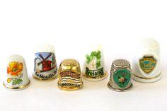 Lot Of Six Travel Souvenir Thimbles