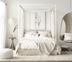 35 all-white room ideas. Discover photos of living rooms, bedrooms, kitchens, and bathrooms decorated in all white decor. Find monochrome white rooms that will inspire your own decor. All White Room, Bedroom Inspirations, Off White Bedrooms, Bedroom Themes, White Rooms, Horse Themed Bedrooms, Bed, Girl Room, Bedroom Design