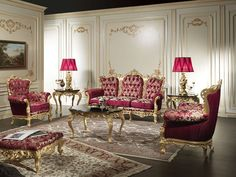 Luxury classic living Room Barocco with carvings and gildings made by hand