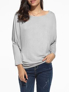 Batwing Round Neck Cotton Plain Long Sleeve T-shirt