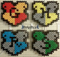 Hogwarts House Crests - Harry Potter perler beads by PerlerPixie