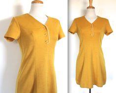 Vintage 1960s Dress // 60s 70s Mustard Yellow Mini Dress // Partridge Family by TrueValueVintage on Etsy