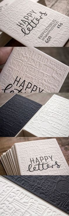 Blind Pressed Textured Black And White Business Card For A Typographer