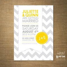 Grey and Yellow wedding invite
