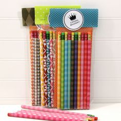 Pencil+Set+of+10.++Rainbow+Stripe+Custom+by+ThePaperedCrown,+$14.00