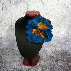 Blumenbrosche gefilzte Brosche gefilzt Petrol / Blume