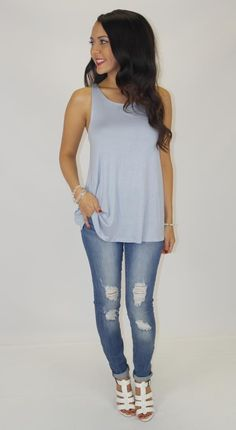 Show details for Lived In Double Layer tank  now in this light slate blue!!!!