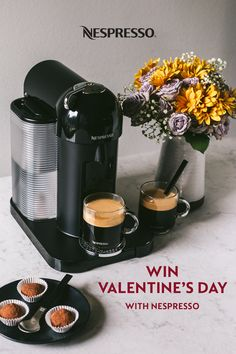 "Nothing says ""I love you a latte"" like a Valentine's Day coffee bar. This sweet setup features flowers, chocolate, and coffee brewed on our Nespresso Vertuo machine. Pop in a coffee or espresso capsule, press the button, and Vertuo brews an exceptional cup topped with Nespresso's signature creamy, dense crema. Whether you're prepping a special Valentine's Day breakfast or an everyday treat, Nespresso is the ultimate at-home coffee experience. Nespresso Recipes, Nespresso Usa, Valentine Special, Valentines Day, Coffee Cups, Coffee Maker, Home Coffee Stations, Beverages, Drinks"