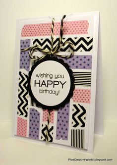 Birthday card with Washi tape. Sentiment from Simon Says Stamp. Card is inspired by Kristina Werner.