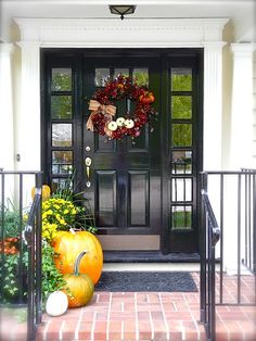Exterior: Extraordinary Porch Decorating Ideas For Fall: Modern Porch House Decoration With Wonderful Autumn Wreath Design In Front Black Wo. Porch Doors, Entrance Doors, Black Front Doors, Front Door Decor, Front Porch, Front Entry, Brick Porch, Side Porch, Autumn Home