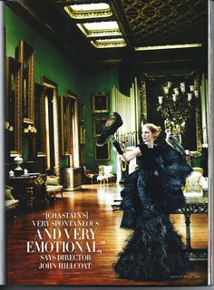 Vanity Fair featuring Jessica Chastain, shot by Mario Testino in the Somerley House Picture Gallery