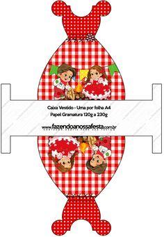 Caixa Vestido Kit Festa Junina Vermelho e Branco